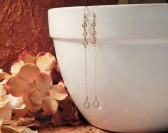 Clear Crystal Dangle CZ Earrings, Gold, Silver or Rose Gold Clear Crystal Earrings, Bridal Jewelry, Gift, Elegant Crystal Earrings [981]