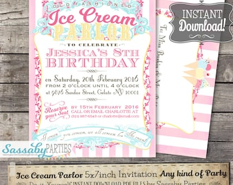 Ice Cream Parlor Invitation - INSTANT DOWNLOAD -  Vintage Gelato, Icecream Partailly Editable & Printable Birthday Party, Baby Shower Invite