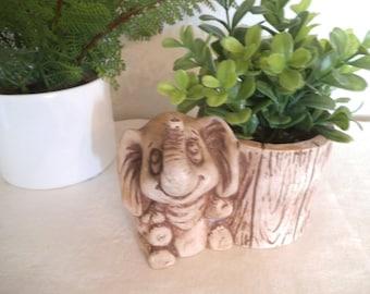 Vintage Elephant and Log Planter ~ Pompadour Products ~ ADORABLE ~ Desk organizer