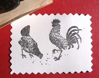 Rooster and Hen Rubber Stamp - Handmade by BlossomStamps