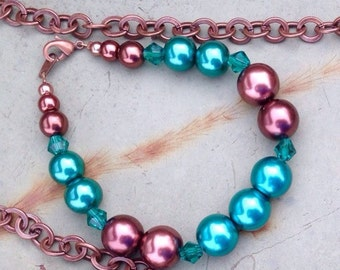 Chocolate & Teal Pearl Bracelet