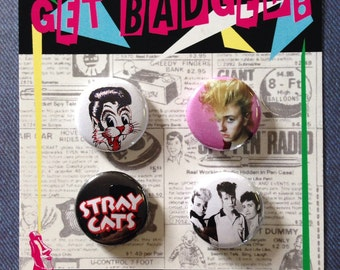 Stray Cats set of four 1 inch badges