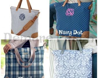 Monogrammed Shoulder Bag, Personalized Zipper Tote, Work Bag, Monogram Tote, Monogrammed Bag, Carry on Bag, Travel Bag, Vacation Tote Bag
