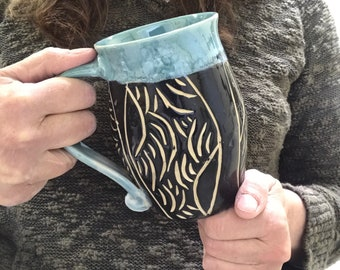 Mother's Day  Extra Large Coffee Mug - Black and Turquoise  Tea Mug   Hot Chocolate Mug Pottery Mug Earthy Mug Ceramic  Mug Pottery