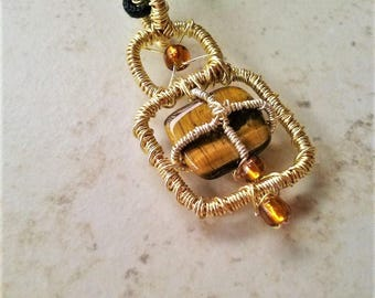 Handmade Wire Wrapped Tiger Eye Stone Necklace