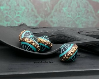 SALE - Vintage Style Black Brass Turquoise Polymer Bicone Bead - Handcrafted Bead - 13mm - Pkg. 4