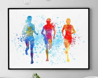 Half Marathon Gift, Runners Print, Sports Print, Watercolor Wall Art, Home Decor, Jogging Girls