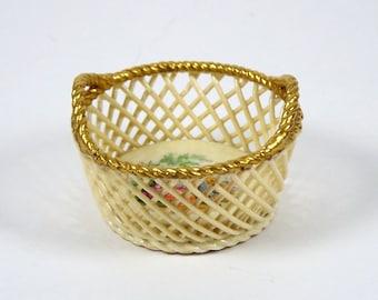 Vintage Miniature Porcelain Basket Ambrosius Lamm Saxony Wattau Scene
