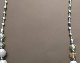 Long Slate Beaded Necklace