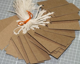 """50 Kraft Chipboard Tags ... 2.5"""" x 1"""" Hang Tags Twine Ties Rustic Tags Medium Weight Price Tags Product Tags Seller Supplies Merchandise Tag"""