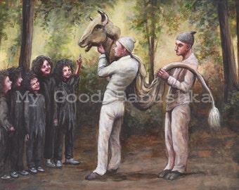 Taurus, Original Painting, Bull, Costume, Forest, Fairy Tale, Folk Tale, Children, Surreal, Illustration, Masquerade, Children, Mask,