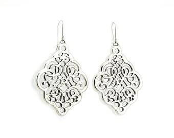 Ethnic Electroformed Long Dangle earrings - Arabesque style Silver Earrings - Big Lace Silver Earrings - Free Shipping