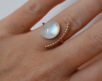 Moonstone Half Moon Ring, 14K Gold Filled Ring, Rainbow Moonstone Ring, Open Stone Ring, Gold Gemstone Ring