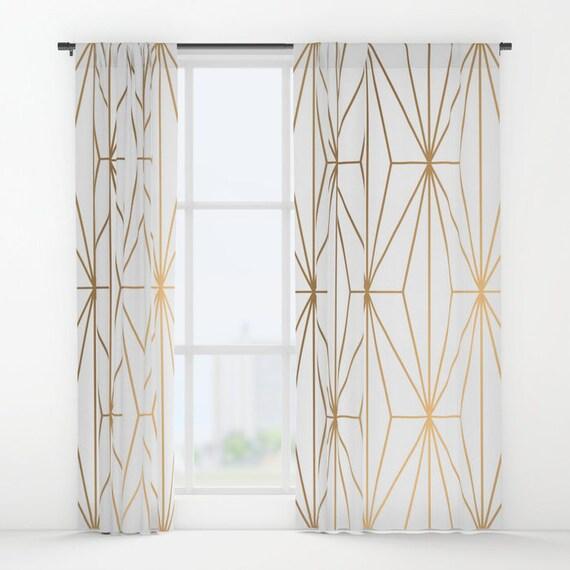 Gold Geometric Pattern Window Curtains Bohemian Curtains