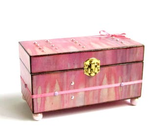Small Trinket Box Decoupaged Jewelry Box Decorated Keepsake Box Crystal Embellished Gift for Her Gift for Mom Pastel Peach Pink Lavender