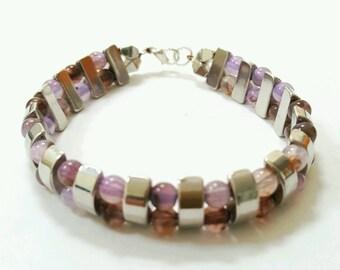 Double bracelet, double bar bracelet, purple glass bracelet, purple beaded bracelet, layered bracelet, tiered bracelet
