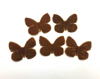 Butterfly 1 Brown velvet for scrapbooking, cardmaking, sewing, decoration individually