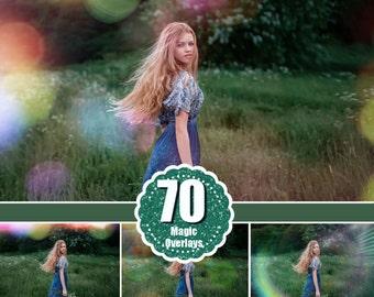 70 Lens Flare Solar, Rainbow Rays, Sun Lens Overlays, Natural Light, Halo Photo Effect, Film Light Leak Layer, Sun beams and streaks bokeh