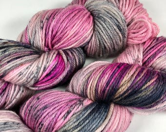 Hand Dyed DK Yarn, Speckled, Black, Gray, Pink, Superwash Merino Wool, 231 yards, Rebel Yell, Dyed to Order