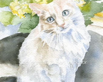 White Cat Watercolor Painting Giclee Print - 8x10 / 8.5x11 - Cat Lover - Cat Wall Art