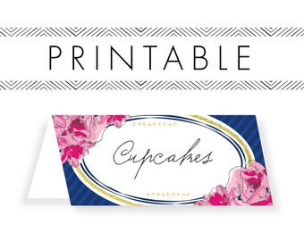 Derby Buffet Cards Printable in Navy