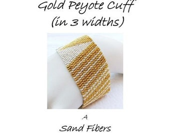 Peyote Pattern - Duet in Silver and Gold Peyote Cuff / Peyote Bracelet  (in 3 widths) - A Sand Fibers For Personal Use Only PDF Pattern