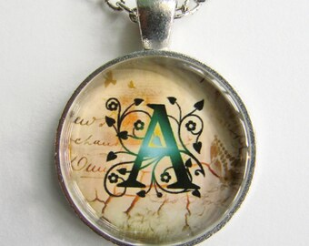 """Initial """"A"""" Necklace -- Green Vine pattern Personalized Letter A Necklace, Wedding Necklace, for Bridesmaid, Hen Night, Friendship token"""