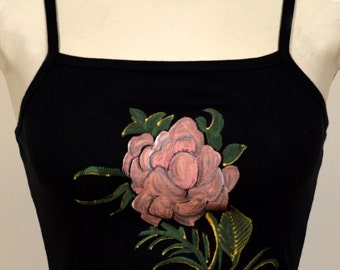 Hand Painted Black Top Rose