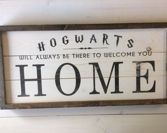 Graduation Gift Hogwarts Welcome Sign | Farmhouse Wall Decor | Harry Potter Wood Signs | Framed Wood Sign | Harry Potter Decor | Dorm Decor