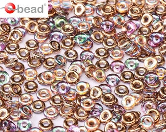 Czech Glass O bead ® 3.8x1 mm Copper Rainbow 2.5 gms