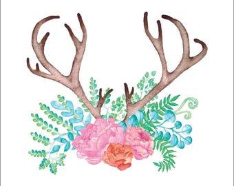 Antlers + Florals #1