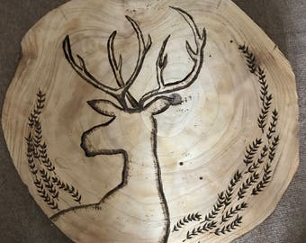 Stag head wooden decoration