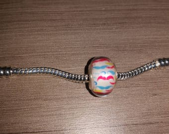 (Charms) - mustache - European bead white, red and blue