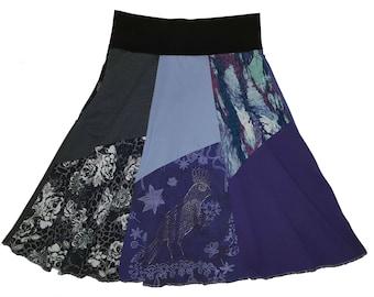 Upcycled Skirt XS Small Hippie Skirt Size 0 2 4 Boho Skirt Repurposed Skirt Purple Bird T-Shirt Knee Length Skirt recycled from Twinkle