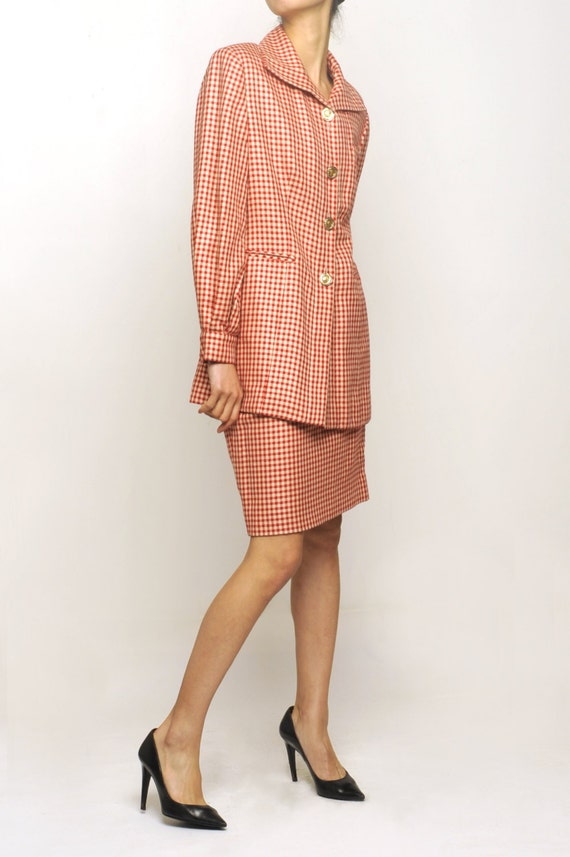 Christian Dior boutique Red × White Checked Pattern Suit