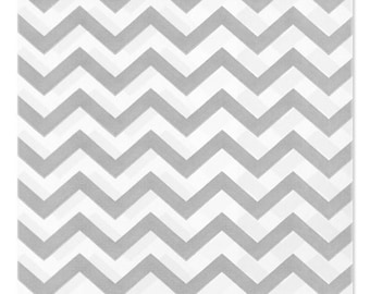 100 Silver Gray Chevron Paper Bags, 5x7 inches with Chevron Stripes on White Paper - Flat Merchandise Bags