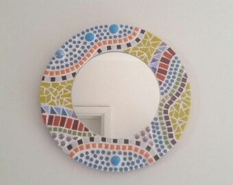 SALE Mosaic Mirror, Round Wall Mirror, 30cm Gaudi Style Mosaic Wall Art, Small Mirror
