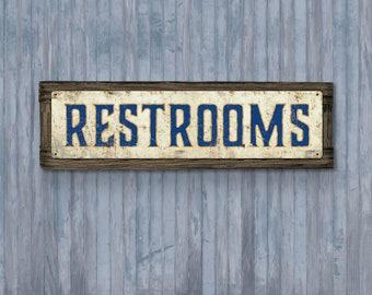 Restrooms METAL Sign FRAMED Free Shipping
