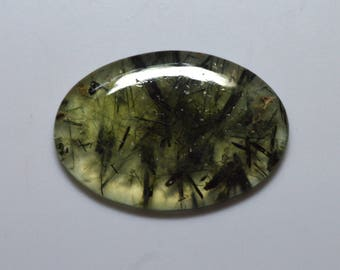 AAA Grade  Super Top Quality Charming Natural Untreated Rutilated Prehnite 38x26x45 MM Smooth Plain Oval Shape Cabochon