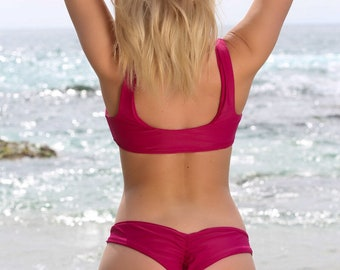 Wine Bikini Swimwear Set  - Knot Swimwear Swimsuit Bikini Top - Brazilian Scrunch Bikini Bottoms - Cheeky Bikini Bottom -