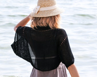 Black bolero shrug black shrug knit cotton bolero women summer shrug black summer bolero beach shrug knitted beach bolero shoulder cover up