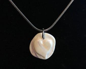 Wampum Circle Raised Heart Pendant Necklace