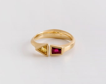 Ruby & Yellow Sapphire Ring, Horseshoe Ring, Ruby Taper, Yellow Sapphire Triangle Ring, Dual Gemstone Ring, Dual Birthstone Ring 18k Gold