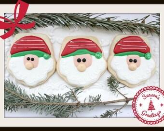 Custom Decorated Santa Sugar Cookies