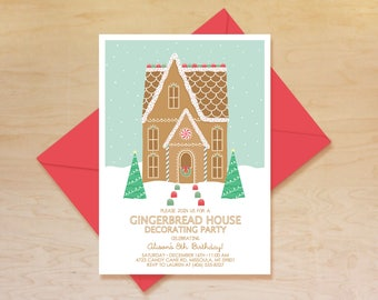 Gingerbread House Birthday Invitation, Gingerbread House Decorating Invitation, Christmas Party Invitation, Gingerbread House Party Theme