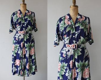 vintage 1980s dress / 80s navy floral dress / 80s romantic floral dress / 80s botanical dress / 80s boho shirtdress / large XL plus size