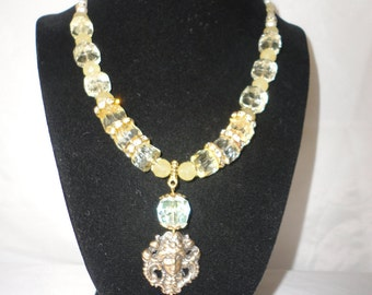 Lime Cetrine Sulphur Fresh Water Pearl Necklace*****.