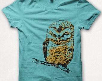 Womens Tshirt, Graphic Tee, Owl Shirt, Bird Shirt, Forest and Fin, Screenprint T - Teal