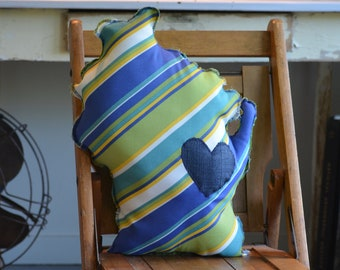 Wisconsin Shaped Pillow - Blues, Greens, Yellows, Whites - 109