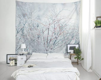 Winter decor wall tapestry, Polyester fabric, Lightweight wall art, Tree branches, Snow, Minimal, Bright, Indoor, Outdoor, Large art. UL090